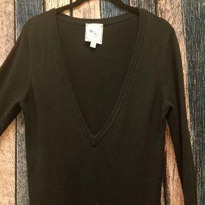 Deep V Tunic Length Black Sweater